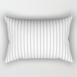 Dove Grey Pin Stripes on White Rectangular Pillow