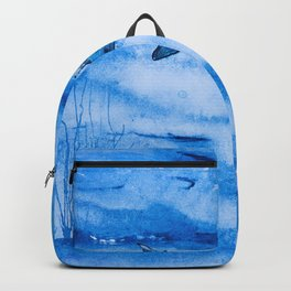 Great white in blue Backpack