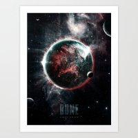arrakis Art Prints featuring Dune Geidi Prime Planet Poster by Barrett Biggers