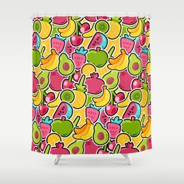 Happy Fruits seamless pattern Shower Curtain
