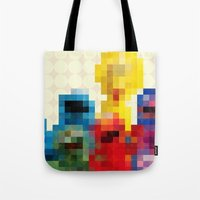 sesame street Tote Bags featuring Sesame by Glen Gould