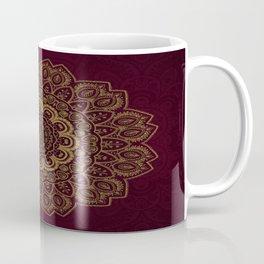 Gold Mandala on Royal Red Background Coffee Mug