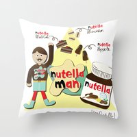 nutella Throw Pillows featuring I {❤} NUTELLA by lilycious