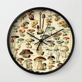 Adolphe Millot- Vintage Mushrooms Illustration Wall Clock