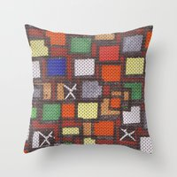 knit Throw Pillows featuring knit by colli13designs