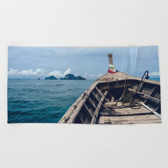 Pacific Boat Adventure Beach Towel