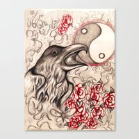 ying yang Canvas Prints featuring Ying Yang  by Emalee Røse
