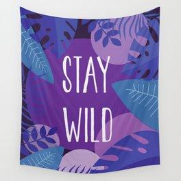 Stay Wild Purple Jungle Wall Tapestry