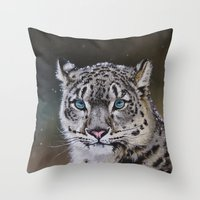 snow leopard Throw Pillows featuring Snow Leopard by Robin Design