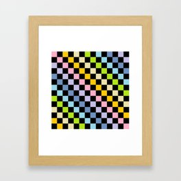 Checkered Pastel Rainbow Black Framed Art Print