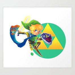 Link - The hero of light Art Print
