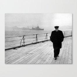 Winston Churchill At Sea Canvas Print