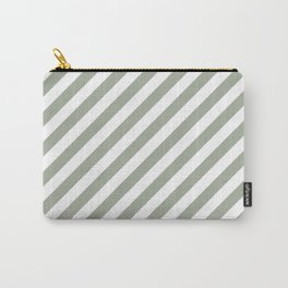 Desert Sage Grey Green Candy Cane Stripes Carry-All Pouch