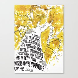 Mustard Seed Faith Tree - Matthew 17:20 Canvas Print