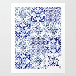 Azulejo VIII - Portuguese hand painted tiles Art Print