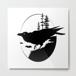 Raven Silhouette II Metal Print