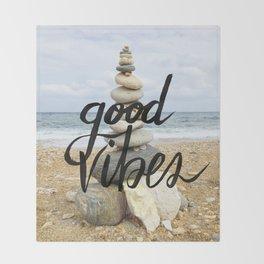 Good Vibes - Rock balancing Throw Blanket
