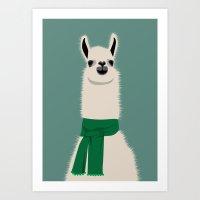 lama Art Prints featuring Lama by Ronja Levinsson