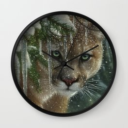 Cougar / Mountain Lion - Frozen Wall Clock