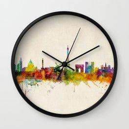 Paris Skyline Watercolor Wall Clock