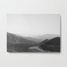 Black and white Atlas Mountains of Ourika Morocco Metal Print