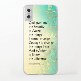 Serenity Prayer Peony Yellow Turquoise Clear iPhone Case
