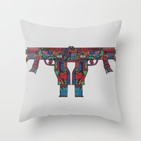 guns Throw Pillows featuring Guns by Sharif El Fatatry