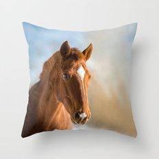 Brown Horse Winter Sky Throw Pillow