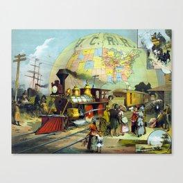Vintage Transcontinental Railroad Canvas Print