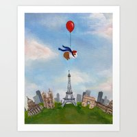 guinea pig Art Prints featuring Guinea Pig Over Paris by When Guinea Pigs Fly