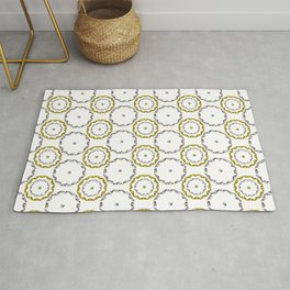 Gold and Silver Rings Polka Dot Pattern Rug
