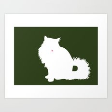 Cat Silhouettes: Norwegian Forest Cat Art Print