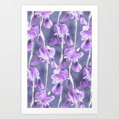 Simple Iris Pattern in Pastel Purple Art Print