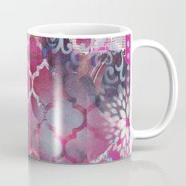 Mixed Media Layered Patterns - Deep Fuchsia Coffee Mug