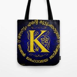 Joshua 24:15 - (Gold on Blue) Monogram K Tote Bag