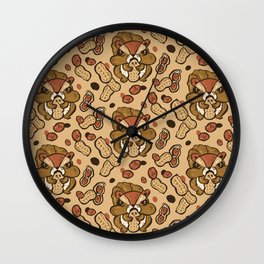 Squirrel eating peanuts Wall Clock