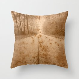 Rustic Forest Road Throw Pillow