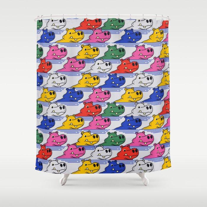 Hippos pattern no2 Shower Curtain