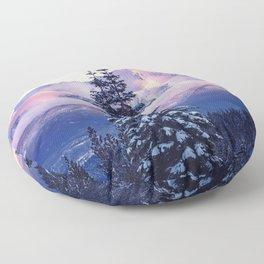 Glorious Beginning sunrise on Mount Shasta Floor Pillow