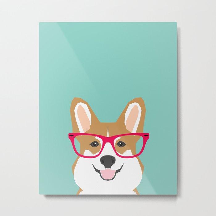 Teagan Glasses Corgi cute puppy welsh corgi gifts for dog lovers and pet owners love corgi puppies Metal Print