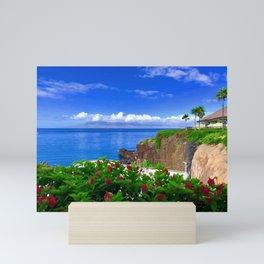 Tropical Island Cliff Side Resort Mini Art Print