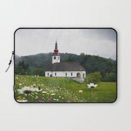 Church in a Meadow Scenic Landscape Laptop Sleeve