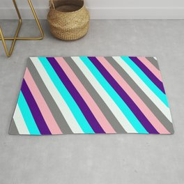 Colorful Indigo, Cyan, Mint Cream, Grey, and Light Pink Colored Lined/Striped Pattern Rug