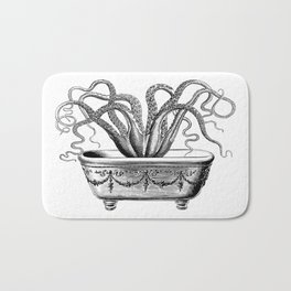 Tentacles in the Tub | Octopus | Black and White Bath Mat
