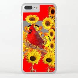RED CARDINAL BIRD YELLOW SUNFLOWERS  ABSTRACT Clear iPhone Case