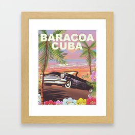 Baracoa, Cuba vacation poster Framed Art Print