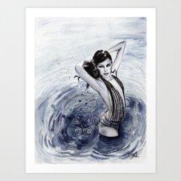 Blue Swim Art Print