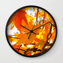 Autumn Leaves in New York City Wall Clock