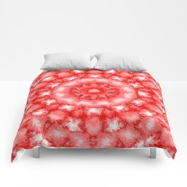 Kaleidoscope Fuzzy Red and White Circular Pattern Comforters