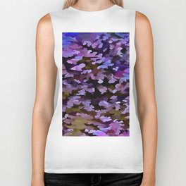 Foliage Abstract In Blue, Pink and Sienna Biker Tank